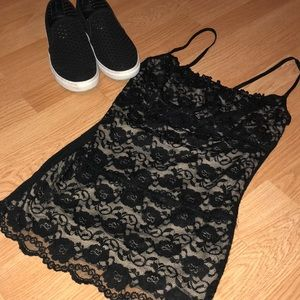 a'gaci Tops - Black Lace Tank Top